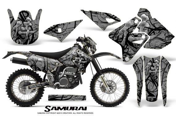 Suzuki DRZ400 Enduro CreatorX Graphics Kit Samurai Black Silver NP Rims 570x376 - Suzuki Dirt Bike Graphics