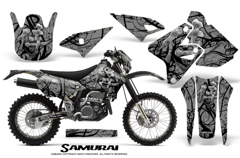 Suzuki-DRZ400-Enduro-CreatorX-Graphics-Kit-Samurai-Black-Silver-NP-Rims