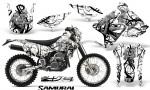 Suzuki DRZ400 Enduro CreatorX Graphics Kit Samurai Black White NP Rims 150x90 - Suzuki Dirt Bike Graphics