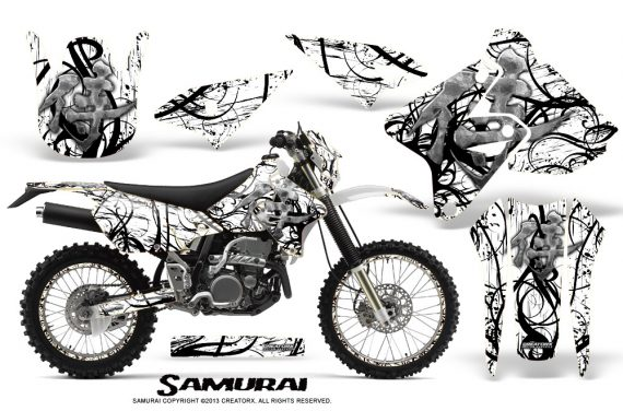 Suzuki DRZ400 Enduro CreatorX Graphics Kit Samurai Black White NP Rims 570x376 - Suzuki Dirt Bike Graphics