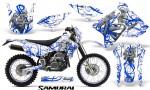 Suzuki DRZ400 Enduro CreatorX Graphics Kit Samurai Blue White NP Rims 150x90 - Suzuki Dirt Bike Graphics
