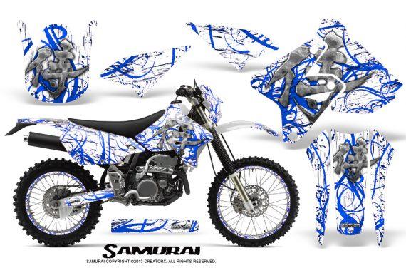 Suzuki DRZ400 Enduro CreatorX Graphics Kit Samurai Blue White NP Rims 570x376 - Suzuki Dirt Bike Graphics