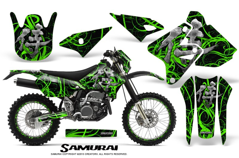 Suzuki-DRZ400-Enduro-CreatorX-Graphics-Kit-Samurai-Green-Black-NP-Rims