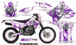 Suzuki DRZ400 Enduro CreatorX Graphics Kit Samurai Purple White NP Rims 150x90 - Suzuki Dirt Bike Graphics
