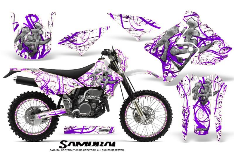 Suzuki-DRZ400-Enduro-CreatorX-Graphics-Kit-Samurai-Purple-White-NP-Rims