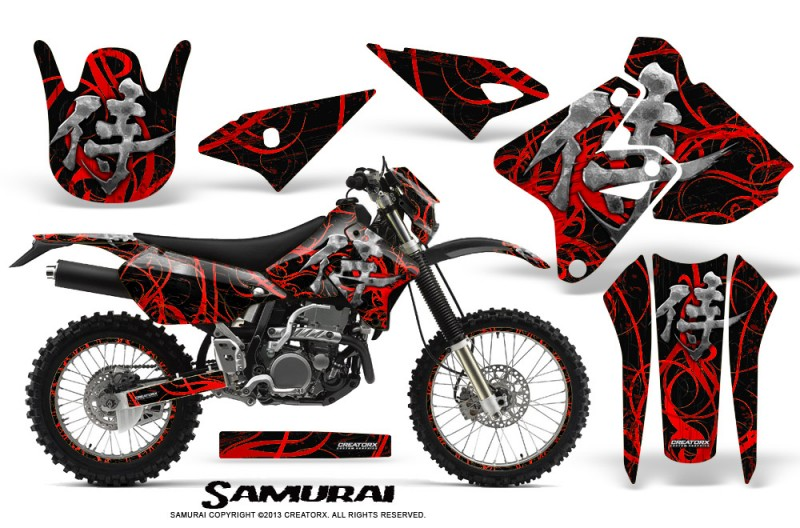 Suzuki-DRZ400-Enduro-CreatorX-Graphics-Kit-Samurai-Red-Black-NP-Rims