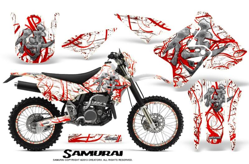 Suzuki-DRZ400-Enduro-CreatorX-Graphics-Kit-Samurai-Red-White-NP-Rims