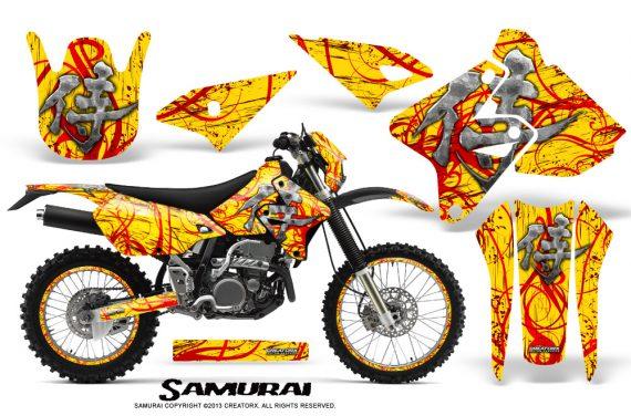 Suzuki DRZ400 Enduro CreatorX Graphics Kit Samurai Red Yellow NP Rims 570x376 - Suzuki Dirt Bike Graphics