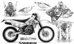 Suzuki DRZ400 Enduro CreatorX Graphics Kit Samurai Silver White NP Rims 150x90 - Suzuki Dirt Bike Graphics
