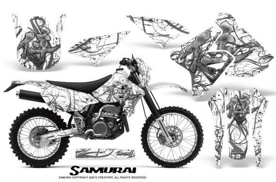 Suzuki DRZ400 Enduro CreatorX Graphics Kit Samurai Silver White NP Rims 570x376 - Suzuki Dirt Bike Graphics