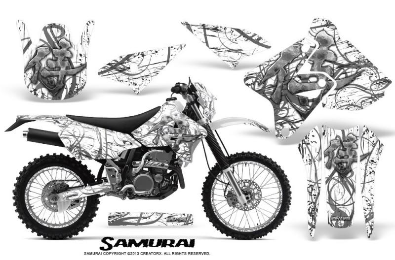 Suzuki-DRZ400-Enduro-CreatorX-Graphics-Kit-Samurai-Silver-White-NP-Rims
