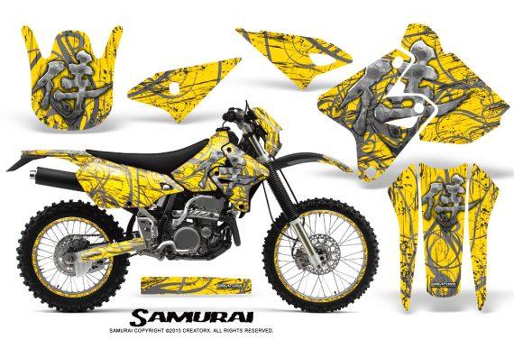Suzuki DRZ400 Enduro CreatorX Graphics Kit Samurai Silver Yellow NP Rims 570x376 - Suzuki Dirt Bike Graphics