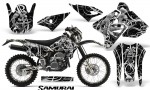Suzuki DRZ400 Enduro CreatorX Graphics Kit Samurai White Black NP Rims 150x90 - Suzuki Dirt Bike Graphics