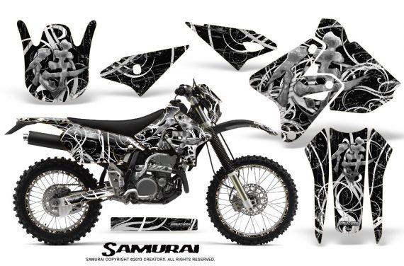 Suzuki DRZ400 Enduro CreatorX Graphics Kit Samurai White Black NP Rims 570x376 - Suzuki Dirt Bike Graphics