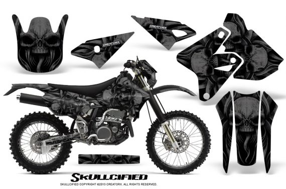Suzuki DRZ400 Enduro CreatorX Graphics Kit Skullcified Black NP Rims 570x376 - Suzuki Dirt Bike Graphics