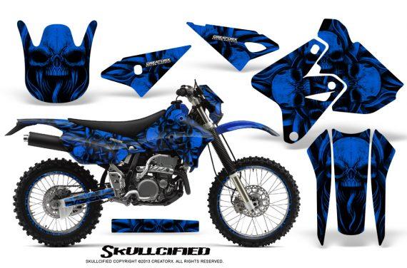 Suzuki DRZ400 Enduro CreatorX Graphics Kit Skullcified Blue NP Rims 570x376 - Suzuki Dirt Bike Graphics