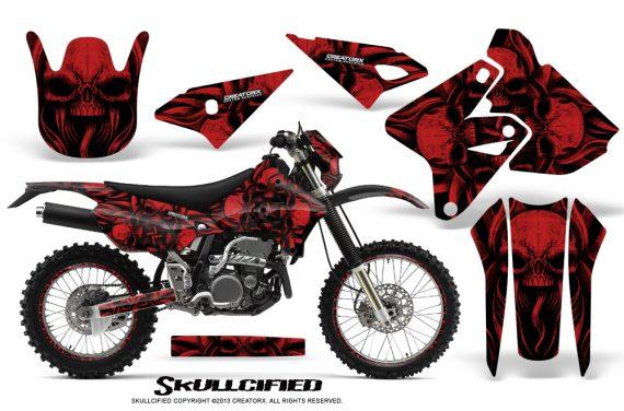Suzuki DRZ400 Enduro CreatorX Graphics Kit Skullcified Red NP Rims 570x376 - Suzuki Dirt Bike Graphics