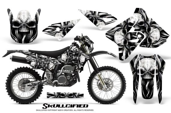 Suzuki DRZ400 Enduro CreatorX Graphics Kit Skullcified Silver NP Rims 570x376 - Suzuki Dirt Bike Graphics