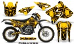 Suzuki DRZ400 Enduro CreatorX Graphics Kit Skullcified Yellow NP Rims 150x90 - Suzuki Dirt Bike Graphics