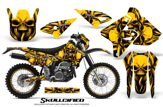 Suzuki DRZ400 Enduro CreatorX Graphics Kit Skullcified Yellow NP Rims 570x376 - Suzuki Dirt Bike Graphics