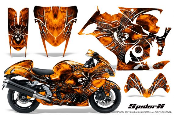 Suzuki GSX 1300 Hayabusa CreatorX Graphics Kit SpiderX Orange 570x376 - Suzuki GSXR 1300 Hayabusa 2008-2013 Graphics