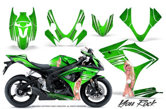 Suzuki GSXR 600 750 06 07 CreatorX Graphics Kit You Rock Green 570x376 - Suzuki GSXR 600/750 2006-2007 Graphics