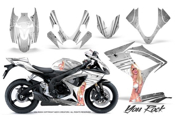 Suzuki GSXR 600 750 06 07 CreatorX Graphics Kit You Rock White 570x376 - Suzuki GSXR 600/750 2006-2007 Graphics
