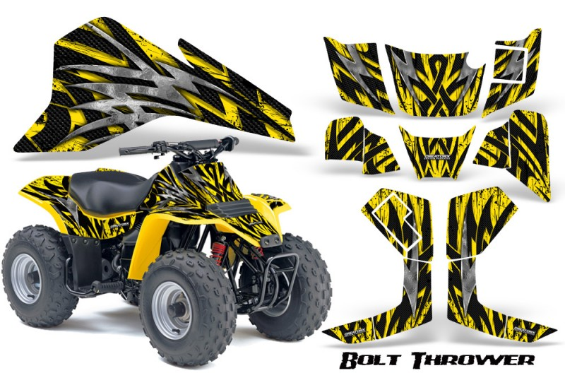 Suzuki-LT80-CreatorX-Graphics-Kit-Bolt-Thrower-Yellow