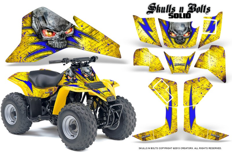 Suzuki-LT80-CreatorX-Graphics-Kit-Skulls-N-Bolts-Solid-Blues-Yellow