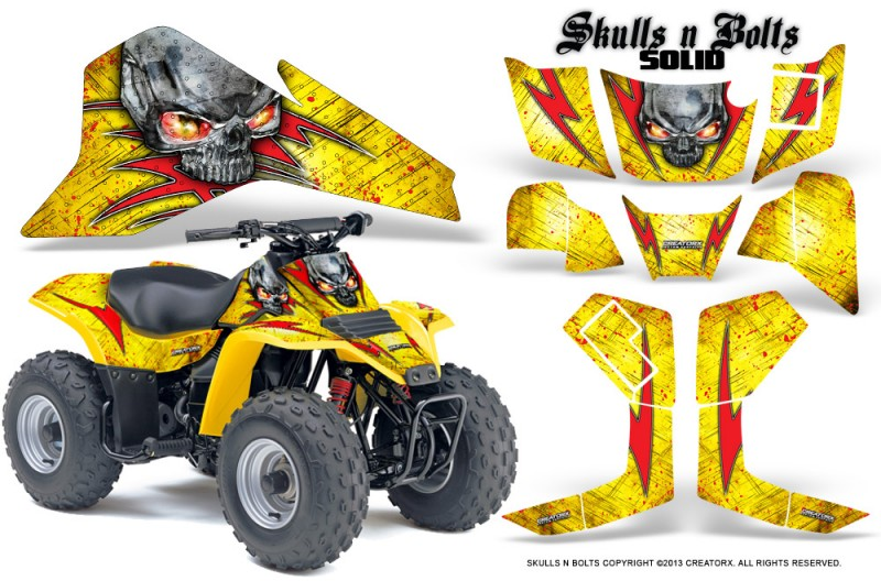 Suzuki-LT80-CreatorX-Graphics-Kit-Skulls-N-Bolts-Solid-Red-Yellow
