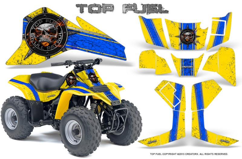 Suzuki-LT80-CreatorX-Graphics-Kit-Top-Fuel-Blue-Yellow