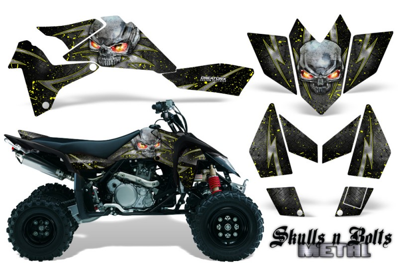 Suzuki-LTR-450-CreatorX-Graphics-Kit-Skulls-n-Bolts-Metal-Yellow