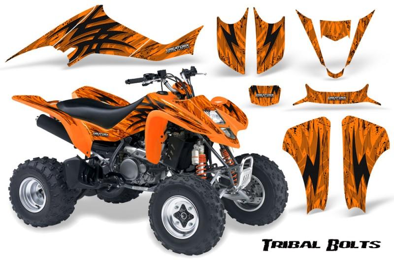 Suzuki-LTZ400-03-08-CreatorX-Graphics-Kit-Tribal-Bolts-Orange