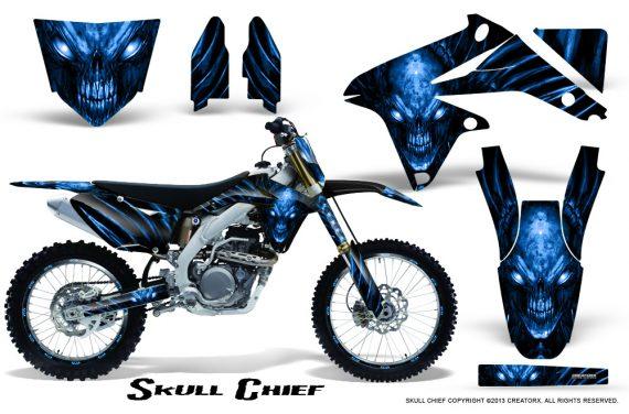 Suzuki RMZ450 08 12 RMZ250 10 12 CreatorX Graphics Kit Skull Chief Blue NP Rims 570x376 - Suzuki Dirt Bike Graphics
