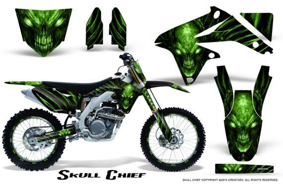 Suzuki RMZ450 08 12 RMZ250 10 12 CreatorX Graphics Kit Skull Chief Green NP Rims 570x376 - Suzuki Dirt Bike Graphics
