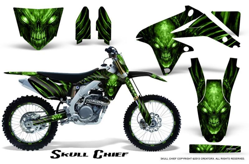 Suzuki-RMZ450-08-12-RMZ250-10-12-CreatorX-Graphics-Kit-Skull-Chief-Green-NP-Rims