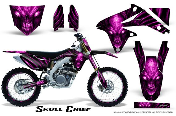 Suzuki RMZ450 08 12 RMZ250 10 12 CreatorX Graphics Kit Skull Chief Pink NP Rims 570x376 - Suzuki Dirt Bike Graphics