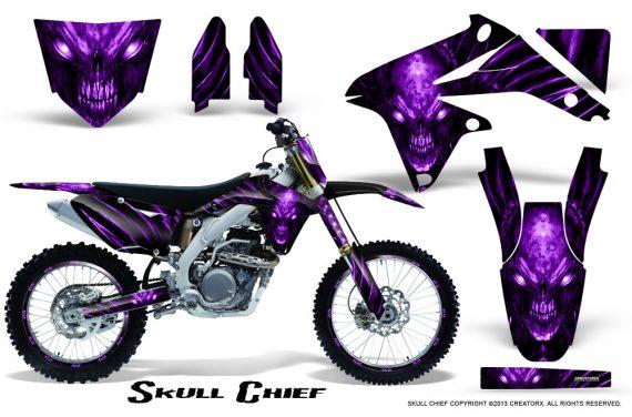 Suzuki RMZ450 08 12 RMZ250 10 12 CreatorX Graphics Kit Skull Chief Purple NP Rims 570x376 - Suzuki Dirt Bike Graphics