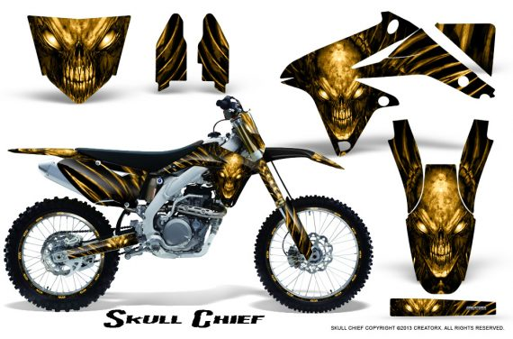 Suzuki RMZ450 08 12 RMZ250 10 12 CreatorX Graphics Kit Skull Chief Yellow NP Rims 570x376 - Suzuki Dirt Bike Graphics