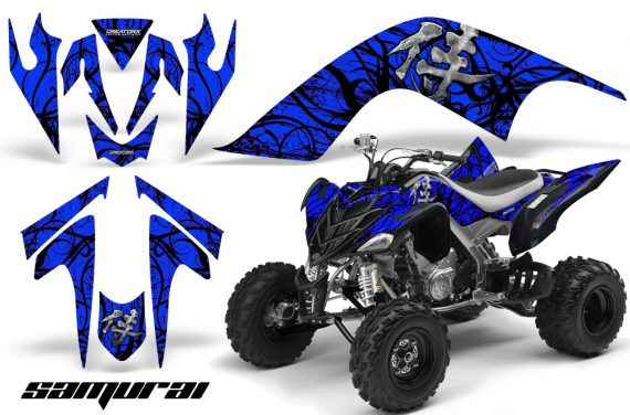 YAMAHA Raptor 700 CreatorX Graphics Kit Samurai Black Blue 570x376 - Yamaha Raptor 700 2006-2012 Graphics
