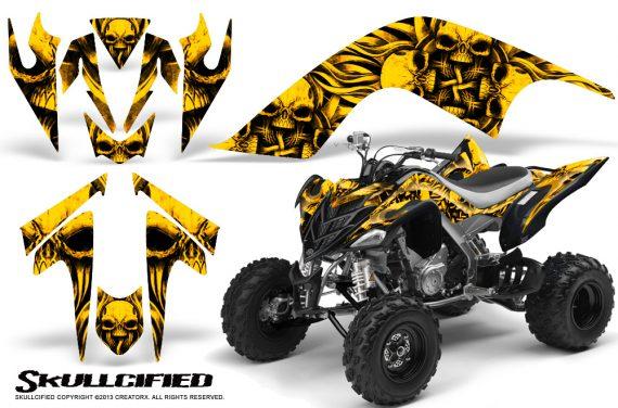 YAMAHA Raptor 700 CreatorX Graphics Kit Skullcified Yellow 570x376 - Yamaha Raptor 700 2006-2012 Graphics