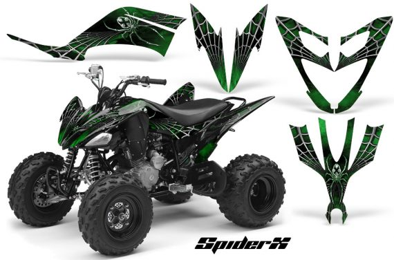 Yamaha Raptor 250 CreatorX Graphics Kit SpiderX Green 570x376 - Yamaha Raptor 250 Graphics