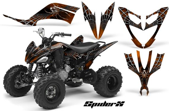 Yamaha Raptor 250 CreatorX Graphics Kit SpiderX Orange 570x376 - Yamaha Raptor 250 Graphics