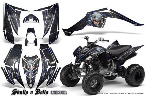 Yamaha Raptor 350 CreatorX Graphics Kit Skulls Bolts Metal Blue Black 570x376 - Yamaha Raptor 350 Graphics