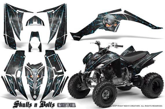 Yamaha Raptor 350 CreatorX Graphics Kit Skulls Bolts Metal BlueIce Black 570x376 - Yamaha Raptor 350 Graphics