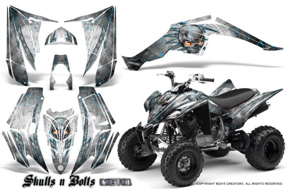Yamaha Raptor 350 CreatorX Graphics Kit Skulls Bolts Metal BlueIce White 570x376 - Yamaha Raptor 350 Graphics