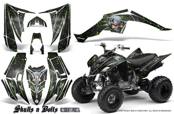 Yamaha Raptor 350 CreatorX Graphics Kit Skulls Bolts Metal Green Black 570x376 - Yamaha Raptor 350 Graphics