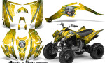 Yamaha Raptor 350 CreatorX Graphics Kit Skulls Bolts Metal Green Yellow 150x90 - Yamaha Raptor 350 Graphics