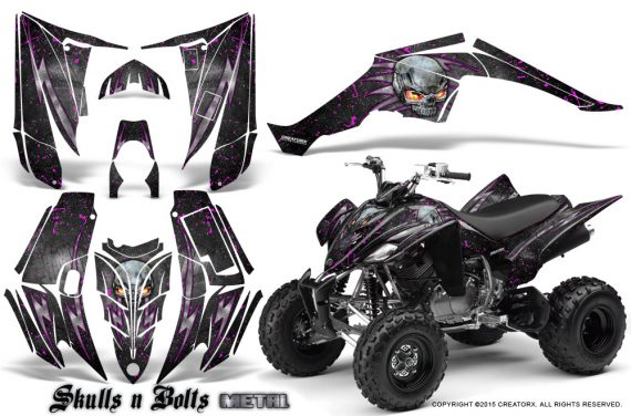 Yamaha Raptor 350 CreatorX Graphics Kit Skulls Bolts Metal Pink Black 570x376 - Yamaha Raptor 350 Graphics