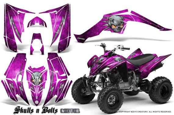 Yamaha Raptor 350 CreatorX Graphics Kit Skulls Bolts Metal Pink Pink 570x376 - Yamaha Raptor 350 Graphics